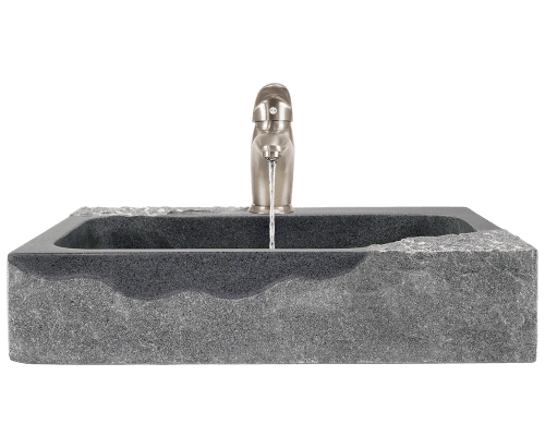 the m86ib impala black granite vessel sink is chiseled from a large block of natural granite this striking basin gives the illusion of being a sculpture in